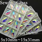 Sew On Glass AB Color 2 Holes Oval Horse Eye Crystal Rhinestone Silver Flatback