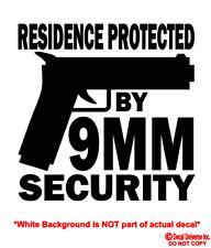 9MM Vinyl Decal Sticker Car Window Wall Bumper Gun Ammo Pistol Home Security