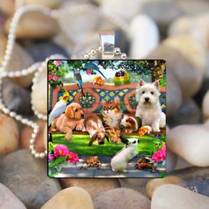 Animal Famille art cabochon verre argent Tile Chaîne Collier Pendentif Bijoux #4