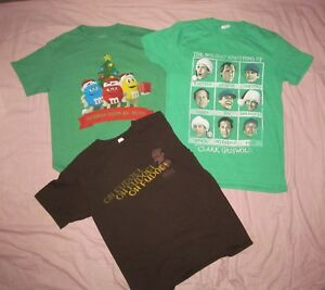 M-amp-M-Christmas-Story-Clark-Griswold-faces-M-Med-Lot-3-pc-Christmas-T-shirts