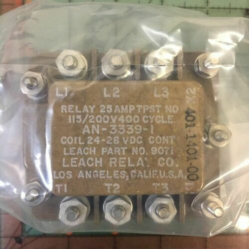9071 28vdc TPST Vintage Rare Free Shipping Leach Aviation Relay AN3339-1