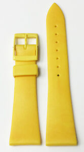 VINTAGE-20MM-YELLOW-GENUINE-PLASTIC-RUBBER-STRAP-BAND-NOS-YELLOW-BUCKLE