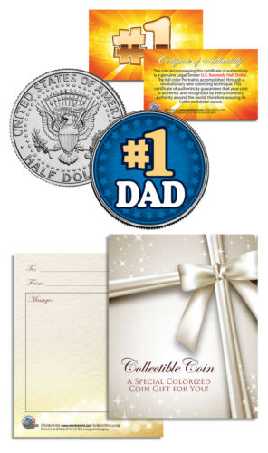 Coin #1 DAD World's Greatest Dad Father/'s Day JFK Kennedy Half Dollar U.S