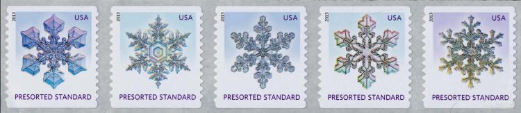 2013 10c Snowflakes, Coil Strip of 5 Scott 4808-4812 Mi