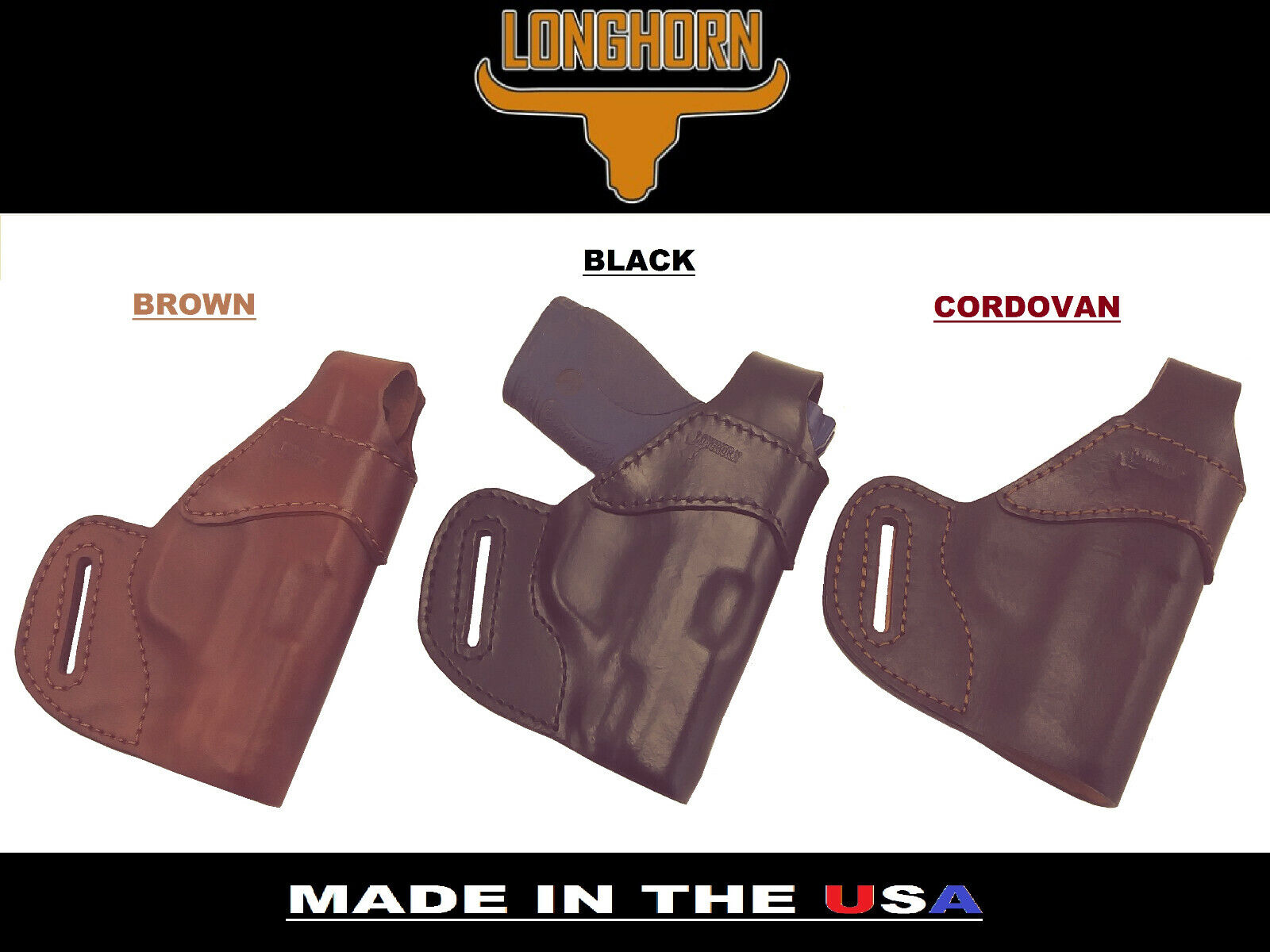 LONGHORN PREMIUM LEATHER TAURUS SPECTRUM OWB BELT CARRY FORMED W  STRAP HOLSTER