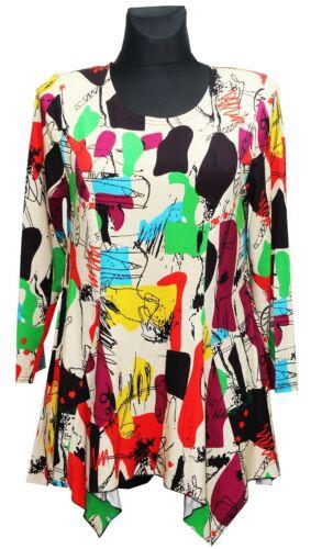 Damen Designer Tunika Bluse Shirt Bunt Kleid Lagenlook A-Form Longshirt M 3XL