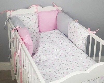 8 Pc Cot Bed Bedding Sets Pillow, Cot Bedding Grey And White Stars