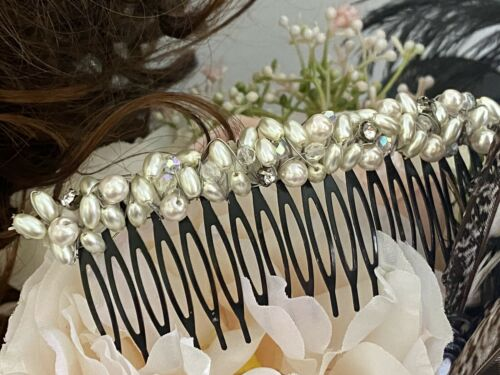 H41 Vintage Women/'s Hair Comb with Rhinestones and a Pearl