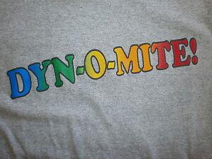 dyn o mite t shirt retro dynamite rainbow lettering magazine good