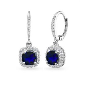 925-Silver-Created-Blue-Sapphire-Cushion-Cut-Dangle-Earrings-with-White-Topaz