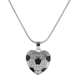 Fußball Silber Halskette schwarze Kristall Kette Statement Anhänger Sport