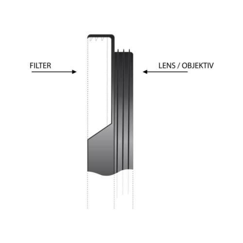 Aluminium Objektiv Ø 46 mm Filteradapterring Step-Up Filter Ø 52 mm