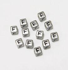"6mm Silver Metallic Alphabet Beads Black Letter ""F"" 100pc"