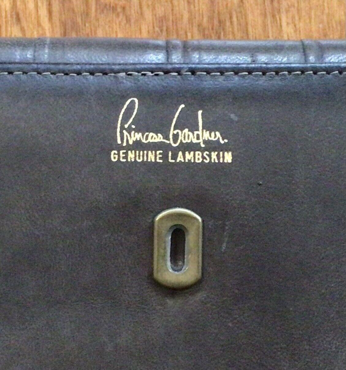 ! nuevo! Vintage Princess Gardner Gris Cordero Genuino Cartera, broche de presión Cierre, 7