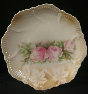 Vintage-Leuchtenburg-Germany-Marked-6-034-Plate-Pink-Roses-Stencil-Leaves