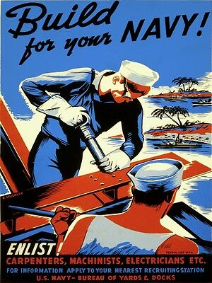 4069.Build on your navy, enlist various profession .POSTER.Home School art decor