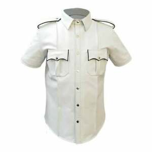 MENS-REAL-LEATHER-White-Police-Military-Style-Shirt-GAY-BLUF-ALL-SIZE-hot-shirt