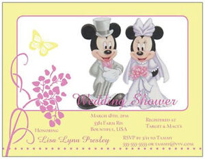 Custom-Mickey-MINNIE-MOUSE-WEDDING-SHOWER-Anniversary-INVITATIONS-Cards
