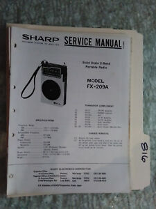 sharp fx 209 a service manual original repair book radio solid state rh ebay com Sharp Cell Phones AT&T Model Sharp Phone Models