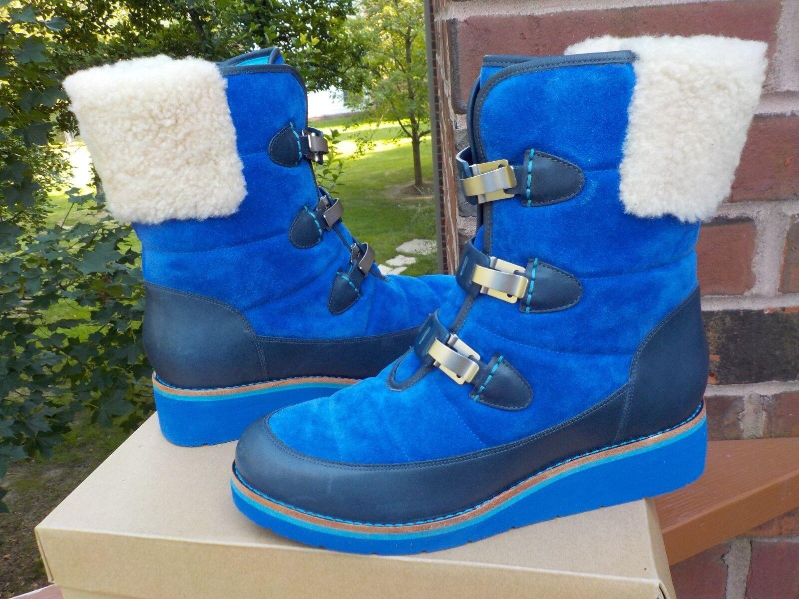 NIB Cole Haan Lania Short Boot bluee Suede Waterproof Fur WOMEN'S Size 8.5