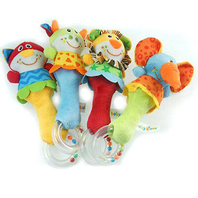 Cute Baby Kids Infant Hand Bell Cartoon Animal Handbell Rattle Development Toy