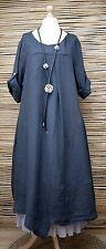 LAGENLOOK OVERSIZED LINEN ASYMMETRICAL A-LINE LONG DRESS**NAVY**BUST UP TO 50""