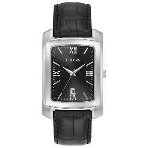 Bulova-Classic-Men-039-s-Quartz-Black-Dial-Black-Leather-Strap-47mm-Watch-96B269