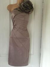 KAREN MILLEN DUSTY PINK CORSAGE 1 SHOULDER PENCIL/WIGGLE DRESS 16