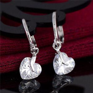 Women-Love-Cubic-Zirconia-Silver-Plated-Drop-Dangle-Earrings-Hoop-Huggie-Jewelry