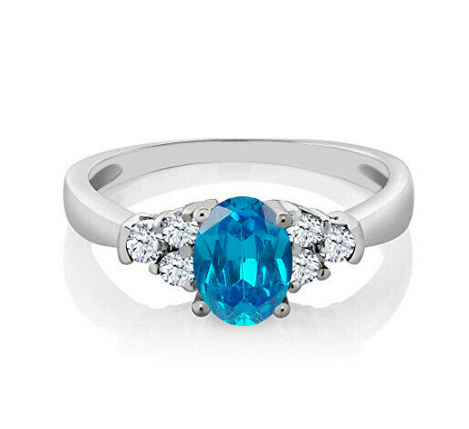 14KT White gold 1.75Ct Natural African bluee Topaz & EGL Certified Diamond Ring