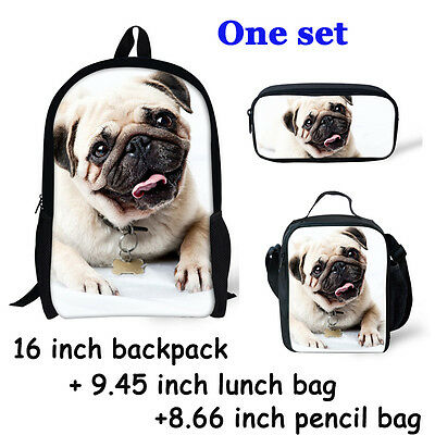 One Set Sale Backpack School Bag,Pencil Bag,Lunch Bag Pug Dog Print For Boy Girl