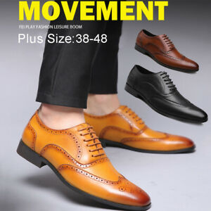 Men-039-s-Business-Formal-Oxfords-Leather-Shoes-Lace-Up-Wedding-Casual-Shoes-Brogue