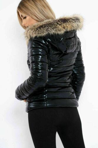 Mesdames Femmes Wet Look Gilet Manteau d/'hiver brillant pu Rembourré Fausse Fourrure Veste à capuche