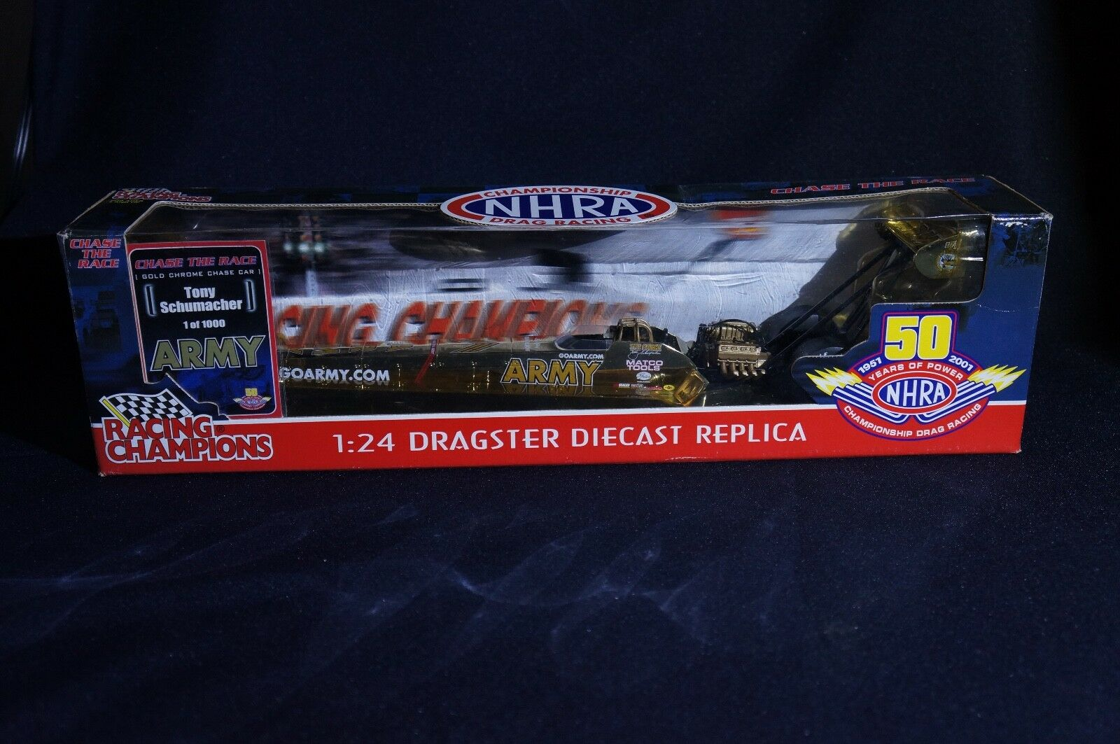 Die Cast Racing Champions gold Chase 50TH ARMY Dragster 1 24 Schumacher 1 1000