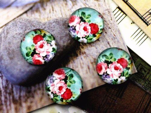 Romántico Floral hecho a mano de Vidrio Cabuchones 20 un.12mm Redondo