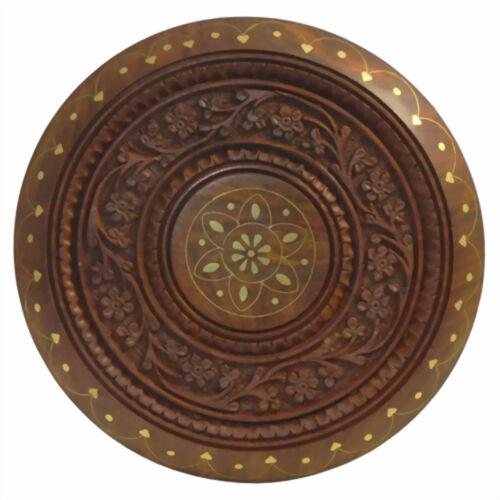 ca 23 x 23 cm Beistelltisch geschnitzt mit Messingeinlagen aus Sheeshamholz