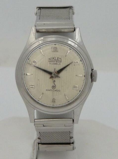 vintage mens nikles antichoc 17 jewels stainless steel manual wind rh ebay com Seiko Watch Manual Wind hamilton manual winding wrist watches