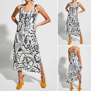 Womens-Floral-Strappy-Midi-Dresses-Ladies-Summer-Beach-Party-Sun-Dress-Plus-Size