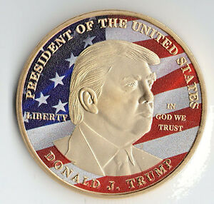 PRESIDENT DONALD TRUMP Gold Coin USA Flag Americana Medal White House Eagle Old