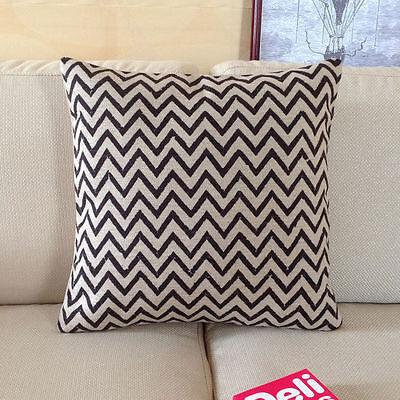 Cotton Linen Cushion Cover Pillow Case Home Decor Black Chevron Pattern