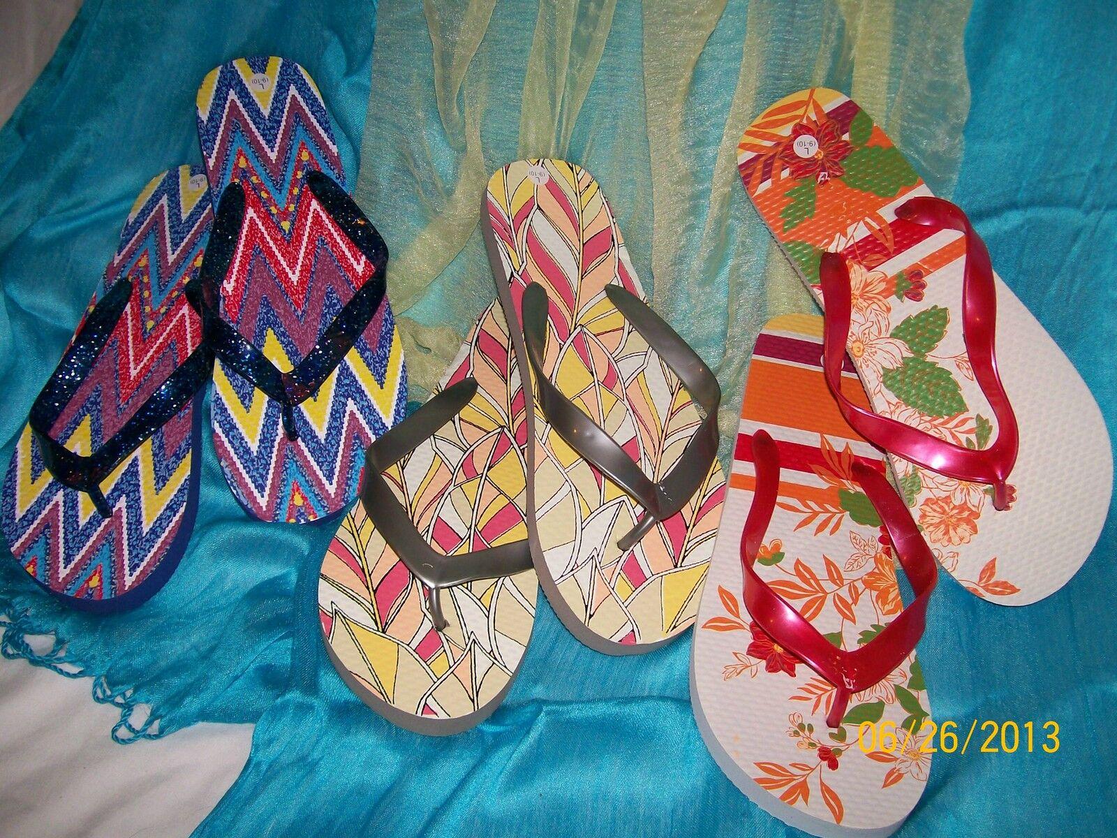Ladies Printed Flip Flops LOT - 3 Red pairs - Grey - Red 3 - Blue - Size Smal (5-6)l efb472