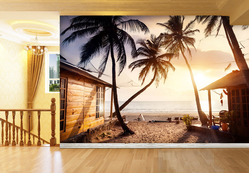 D paper palm tree sunshine house wall paper d print decal wall