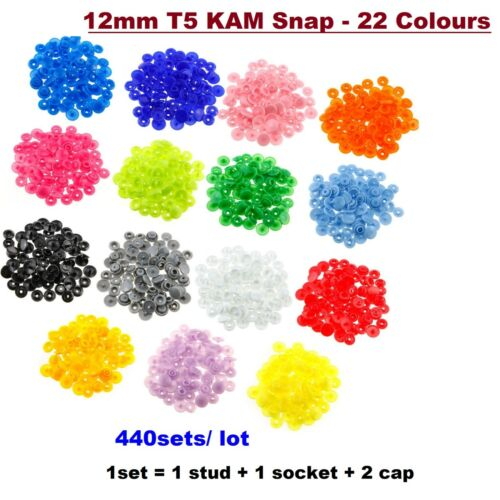 440x  Kam Snaps Size 20 T5 12mm Popper Snap Fasteners Push Button Sewing Craft