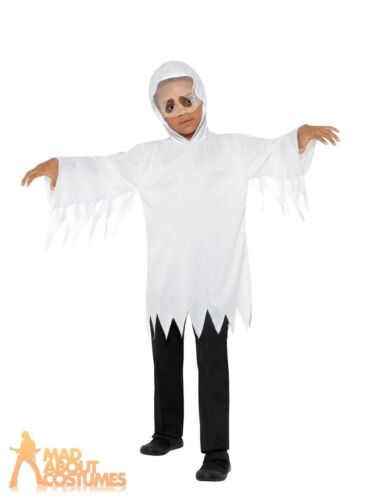 Child Ghost Robe Ghoul Costume Boys Girls Halloween Fancy Dress Outfit Kids