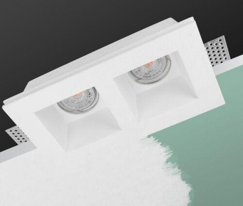 Spots eckig Trockenbau Gips GU10 Leuchte weiß zweiflammig 215x120mm Vega 9044