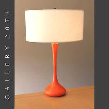 MID CENTURY GIO PONTI LAUREL TABLE LAMP! Orange Modern Vtg 50s Atomic Lighting!