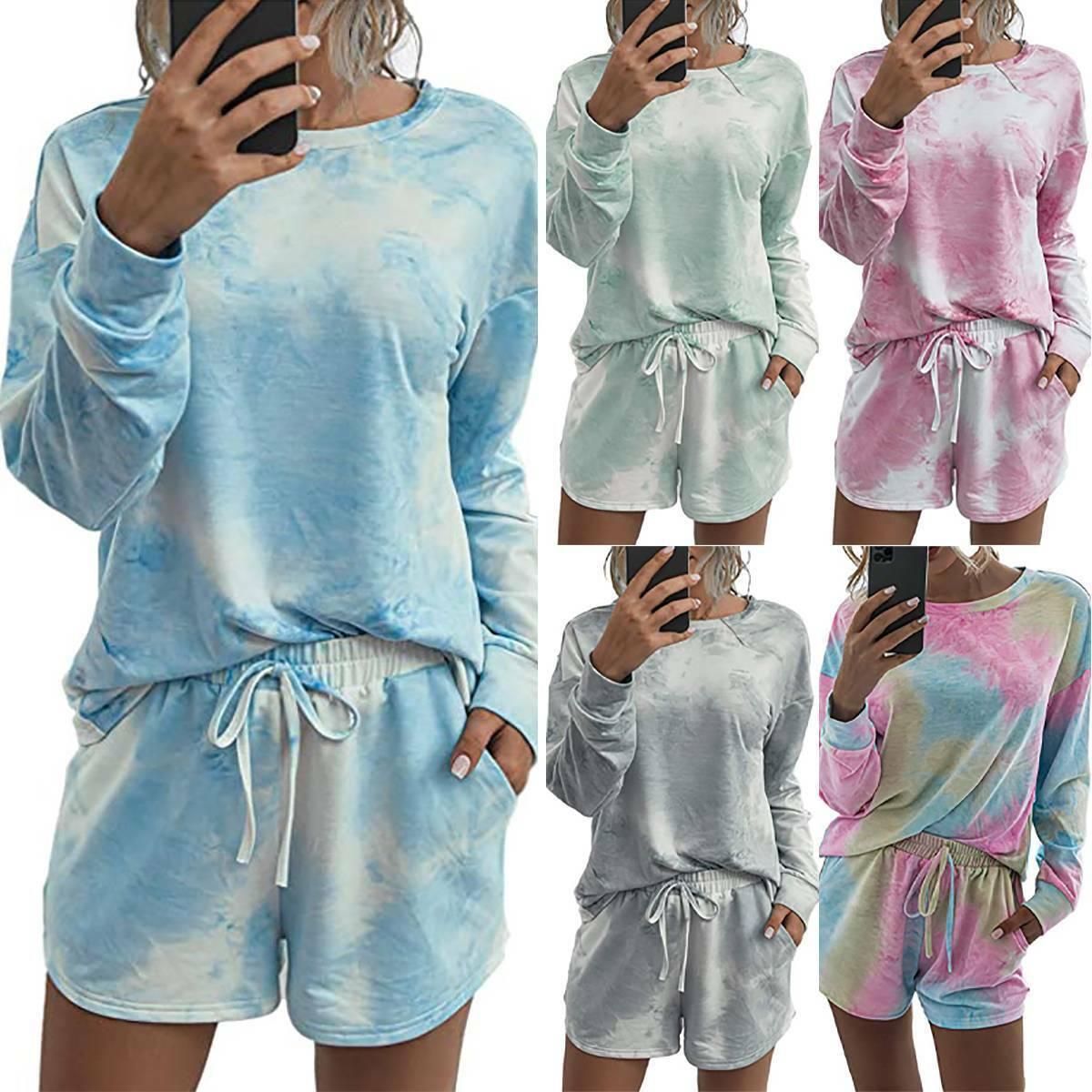 Damen Tie Dye Langarm Tops+Shorts Schlafanzug Pyjama Set Nachtwäsche Loungewear