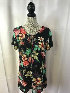 LUCY-LOVE-Sz-M-Multicolor-Floral-Print-Rayon-Dress