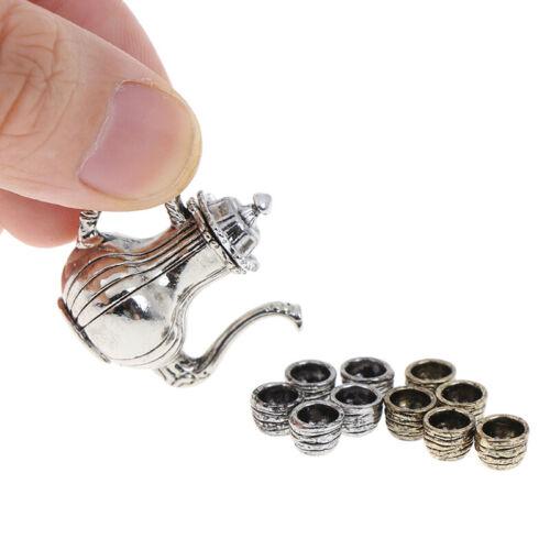 1 12 Dollhouse Furniture Miniature Dining Ware 5 Pcs Metal Tea Set Teapot PL