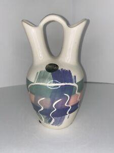 Vtg MCM MAURICE Ceramics CALIFORNIA Wedding Double Spout Vase Pitcher Pastel